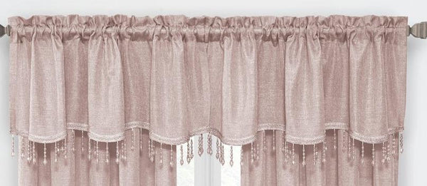 Gina Rod Pocket Valance with Faux Crystal Beads - Valance 52x20 Rose C42290- Marburn Curtains