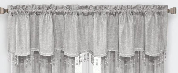 Gina Rod Pocket Valance with Faux Crystal Beads - Valance 52x20 Silver C42291- Marburn Curtains