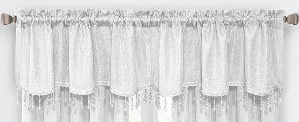 Gina Rod Pocket Valance with Faux Crystal Beads - Valance 52x20 White C42292- Marburn Curtains