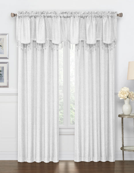 Gina Rod Pocket Valance with Faux Crystal Beads - - Marburn Curtains