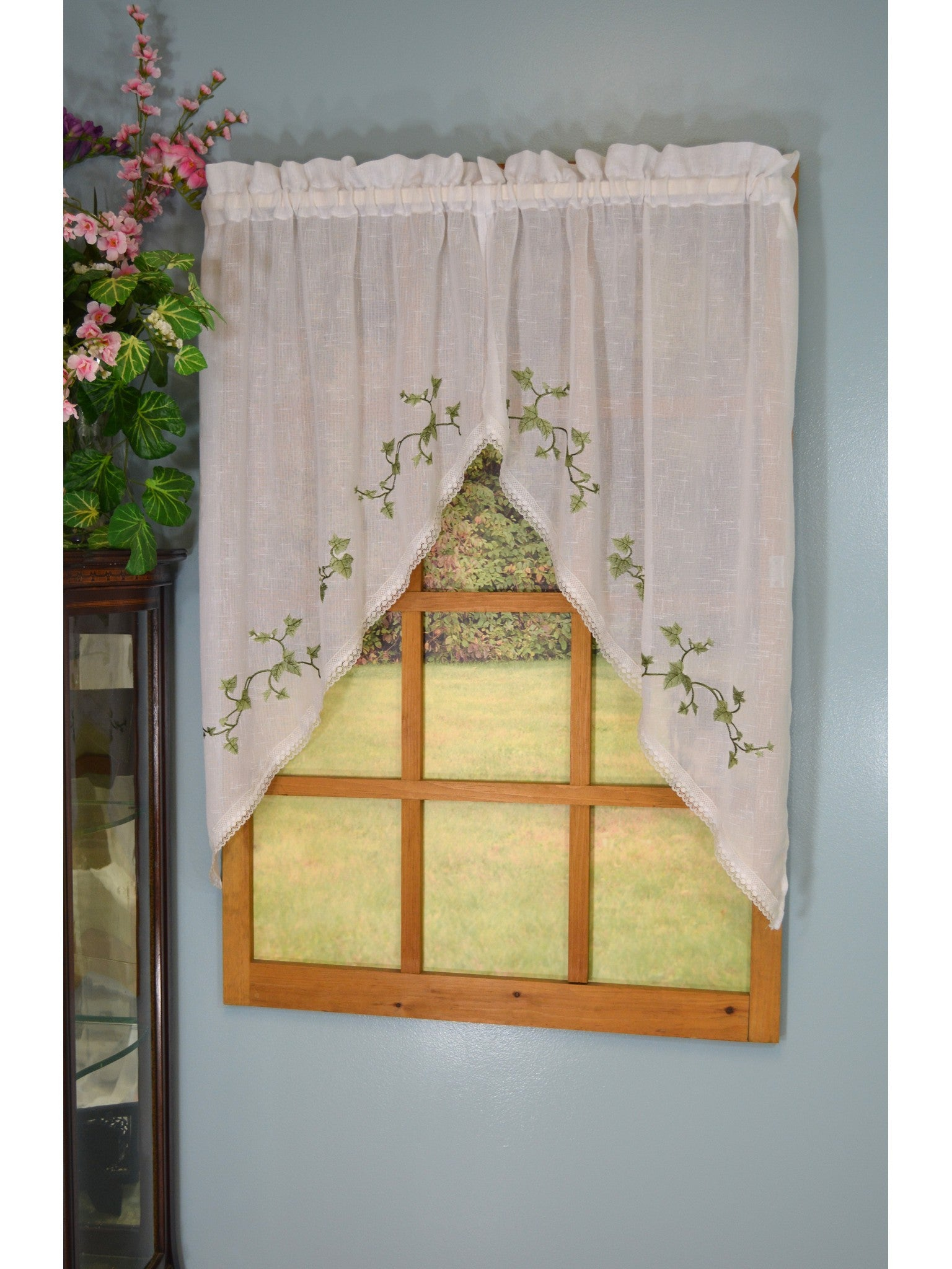 Garden Path Rod Pocket Tier/Valance/Swag - Swag 056x038 Ivy C22325- Marburn Curtains
