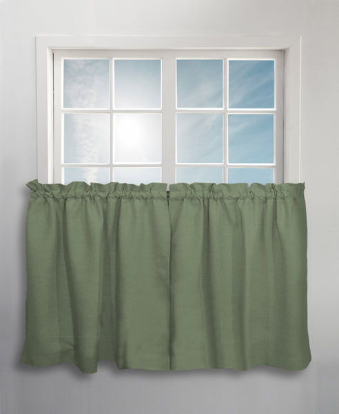 Glasgow Rod Pocket Tier / Valance / Swag - Tier 057x024 Spanish Moss C31715- Marburn Curtains