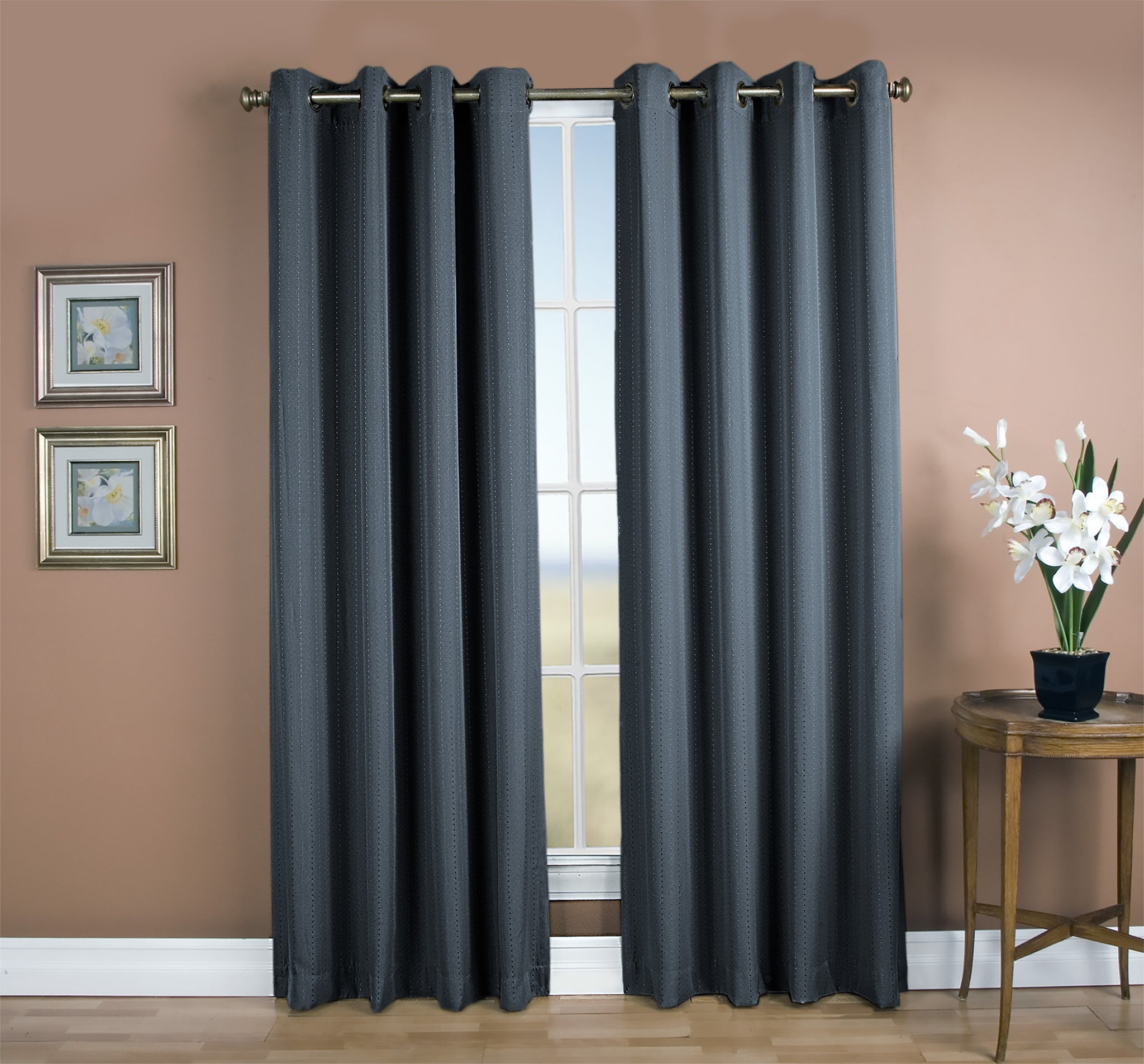 Grand Pointe Room Darkening Grommet Panel - 054x063 Deep Blue C28884- Marburn Curtains
