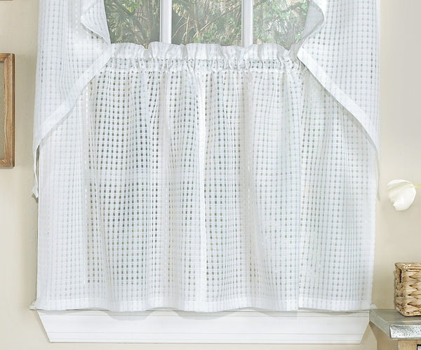 Gridwork Semi-sheer Tier - 054x024   White  C44541- Marburn Curtains