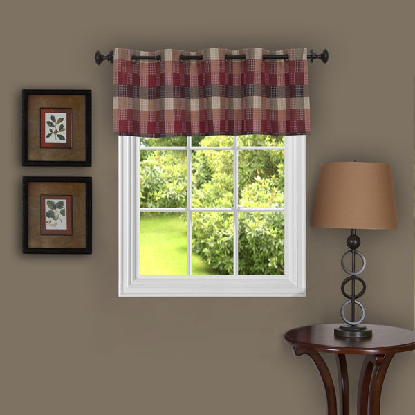 Harvard Plaid Grommet Valance - Valance   058x014 Burgundy C36922- Marburn Curtains