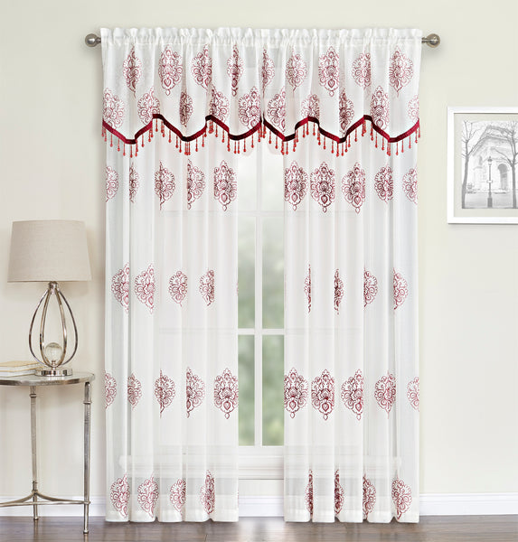 Helena Panel Rod Pocket Semi-Sheer Panel/ Beaded Valance - Panel 052x084  Red    C41054- Marburn Curtains