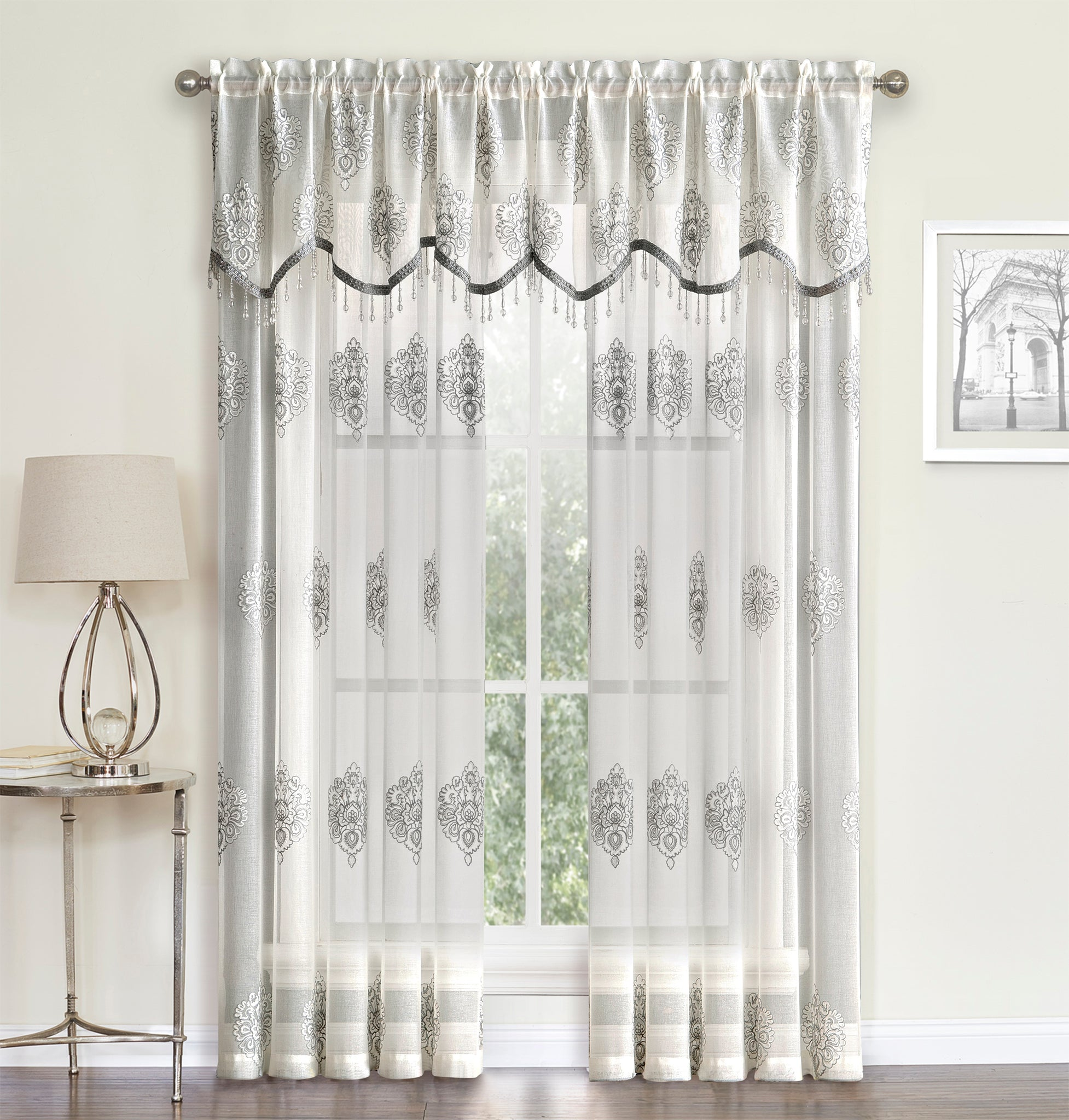 Helena Panel Rod Pocket Semi-Sheer Panel/ Beaded Valance - Panel 052x084  Gray    C41052- Marburn Curtains