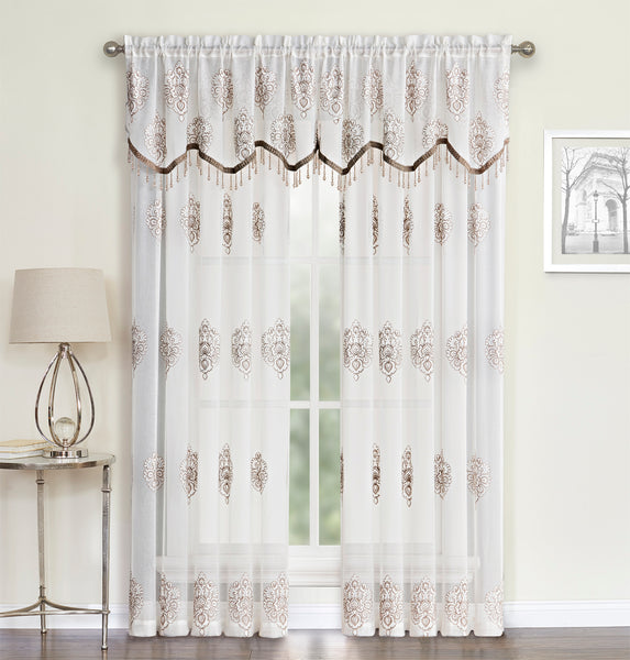 Helena Panel Rod Pocket Semi-Sheer Panel/ Beaded Valance - Panel 052x084  Natural    C41053- Marburn Curtains