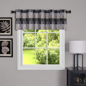 Harvard Plaid Grommet Valance - Valance   058x014 Black C35840- Marburn Curtains