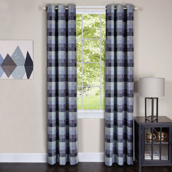 Harvard Plaid Grommet Panel - Panel  042x084 Blue C39354- Marburn Curtains