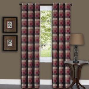 Harvard Plaid Grommet Panel - Panel  042x063 Burgundy C39352- Marburn Curtains