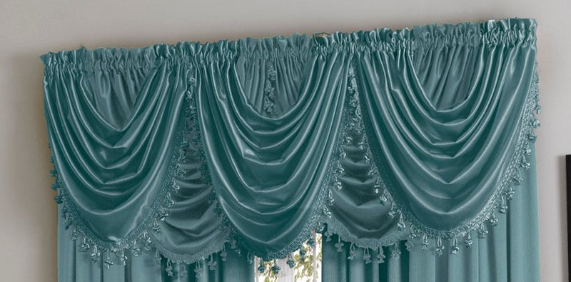 Hilton/Hyatt Waterfall Valance w/Tassel - 055x037   Blue  C44746- Marburn Curtains