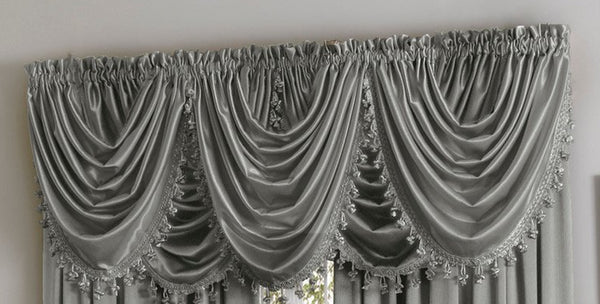 Hilton/Hyatt Waterfall Valance w/Tassel - 055x037   Gray  C44747- Marburn Curtains