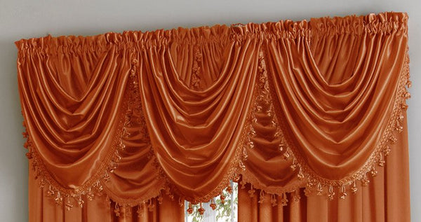 Hilton/Hyatt Waterfall Valance w/Tassel - 055x037   Spice  C44748- Marburn Curtains