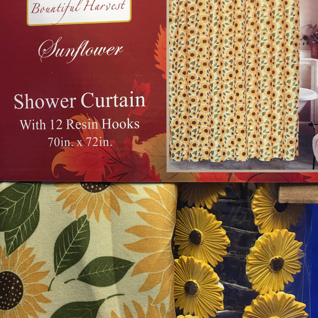 Sunflower Fabric Shower Curtain with 12 Resin Hooks