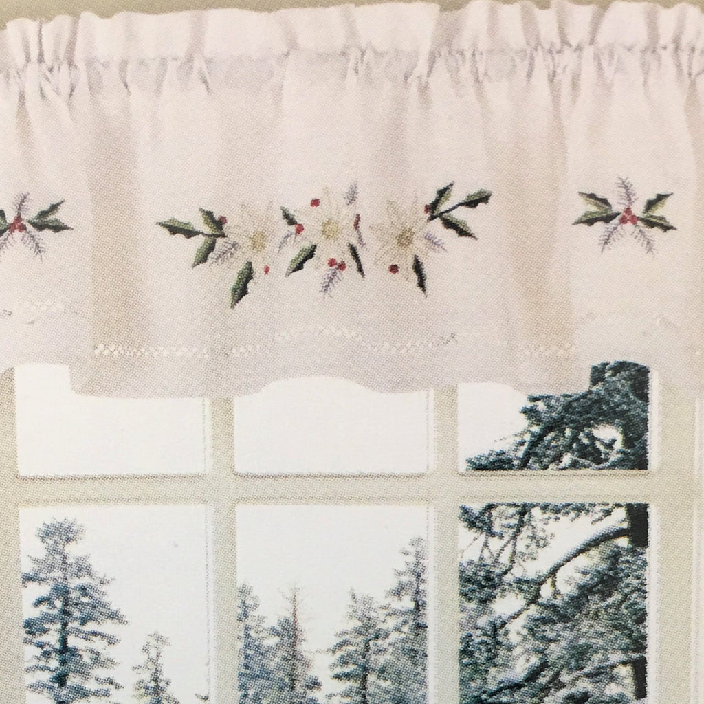 Winter Rose Embroidered Holiday Valance