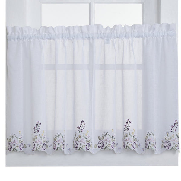 Isabella Rod Pocket Tier - Tier 060x024 White Lilac C28945- Marburn Curtains