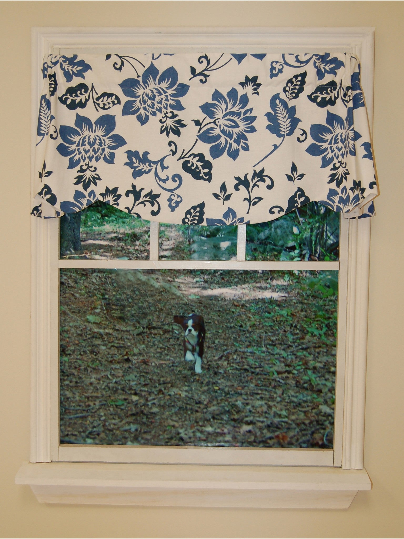 Jacobean Abstract Rod Pocket Valance - Valance  053x015 Delft Blue C26993- Marburn Curtains