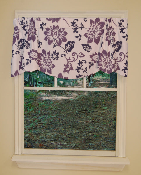 Jacobean Abstract Rod Pocket Valance - Valance  053x015 Plum C40773- Marburn Curtains