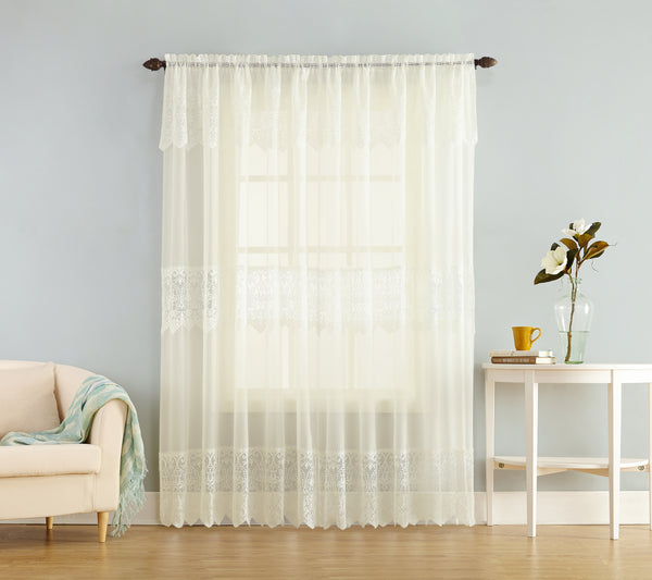 Joy Sheer Lace Panel W Attached Valance Marburn Curtains
