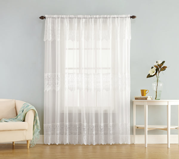 Joy Sheer Lace Panel w/attached Valance - 060x063 White C32138- Marburn Curtains