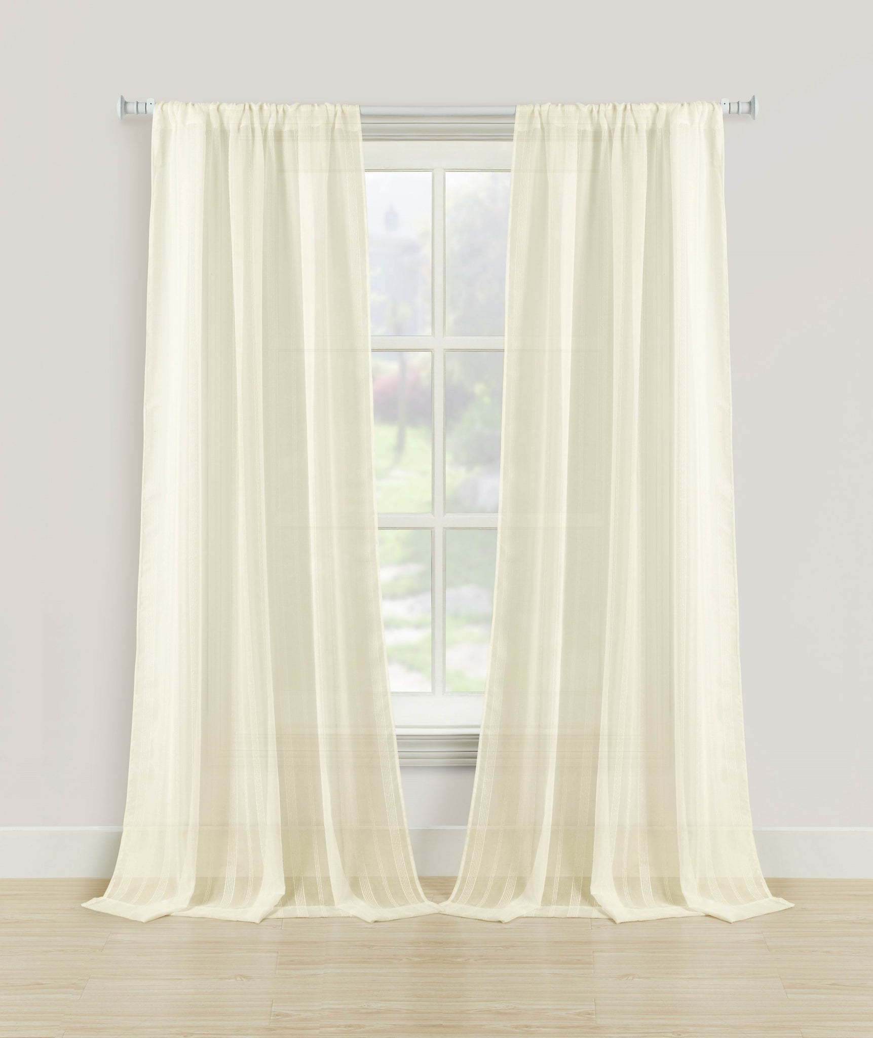 Knitted Sheer Rod Pocket Panel - 052x063 Ivory C39383- Marburn Curtains