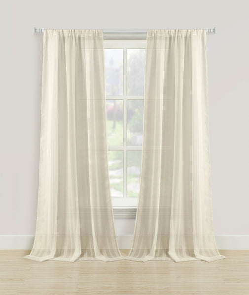 Knitted Sheer Rod Pocket Panel - 052x063 Taupe C39385- Marburn Curtains