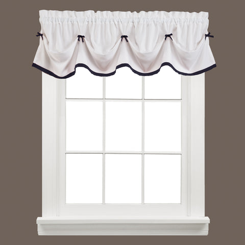 Kate Rod Pocket Tie Up Valance Black - - Marburn Curtains