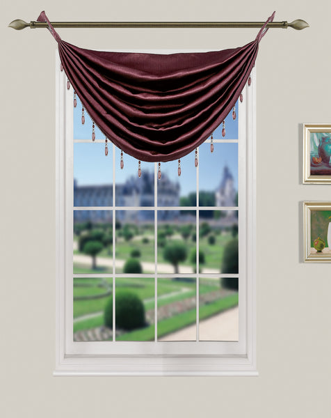 La Pearl Room Darkening Faux Suede Waterfall Valance with Attached Beads - Valance   030x020 Burgundy C40148- Marburn Curtains