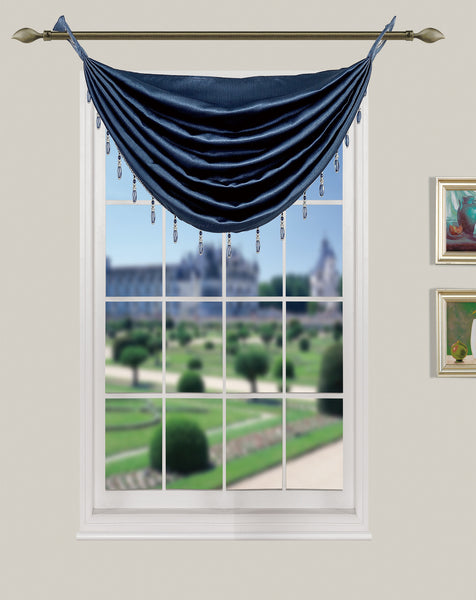 La Pearl Room Darkening Faux Suede Waterfall Valance with Attached Beads - Valance   030x020 Navy C40152- Marburn Curtains