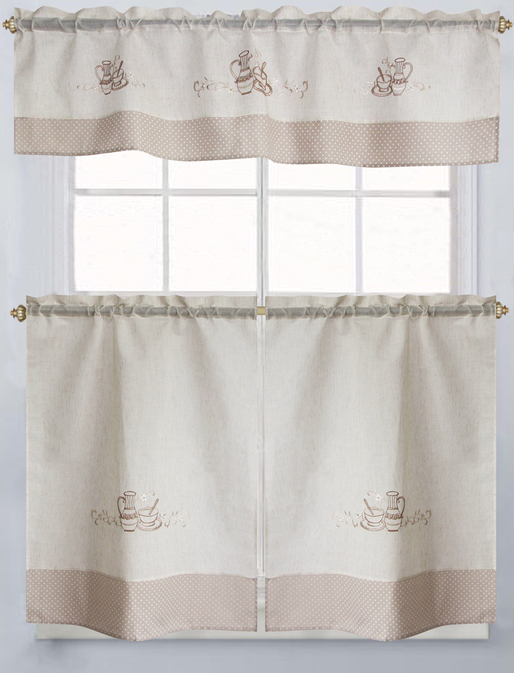 "Latte Embroidered Tier & Valance Set 36"" - - Marburn Curtains"