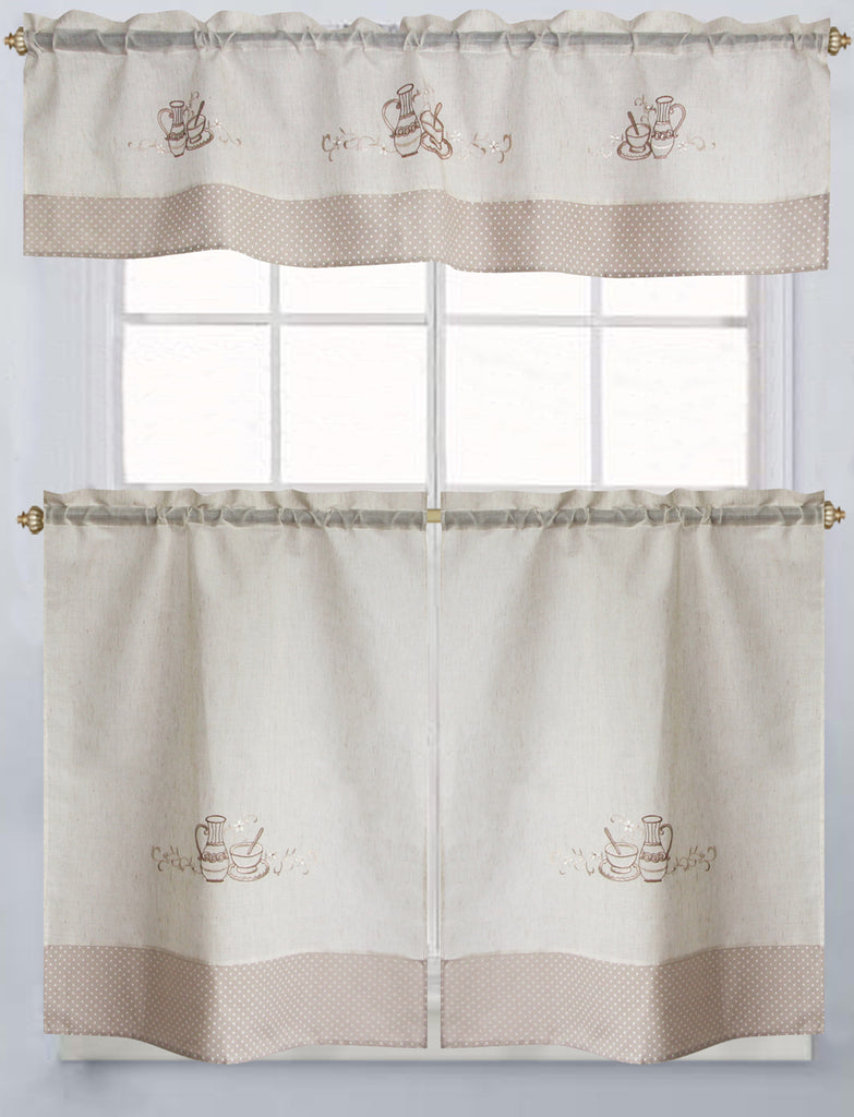 Latte Embroidered Tier & Valance Set 36""