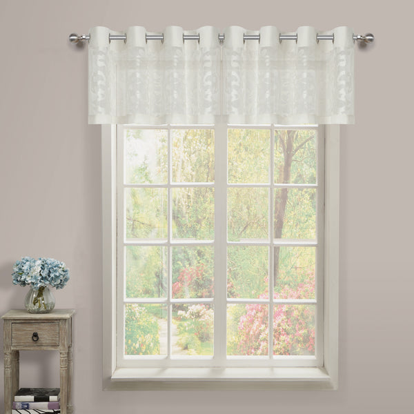 Luciana Semi-Sheer Grommet Valance - 052x018 White-White C43474- Marburn Curtains