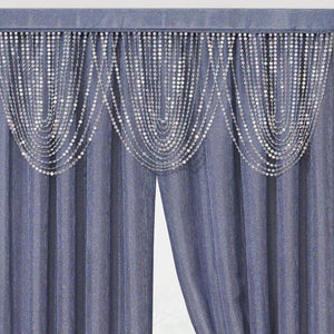 Luna Beaded Cascade Valance - 042x020 Blue C41196- Marburn Curtains