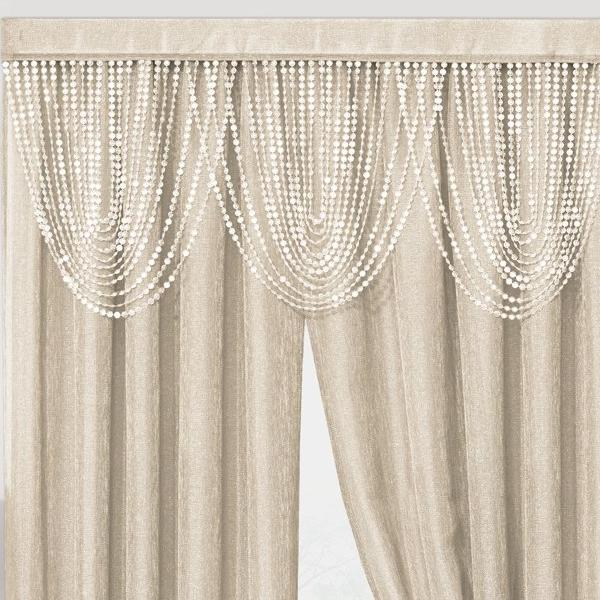 Luna Beaded Cascade Valance - 042x020 Gold C41197- Marburn Curtains