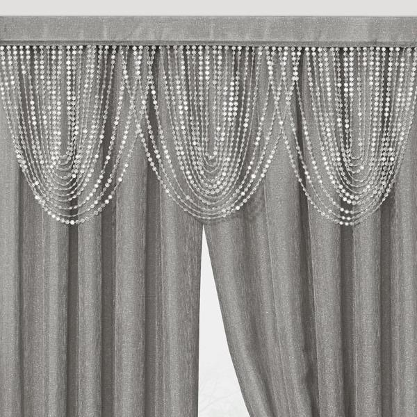 Luna Beaded Cascade Valance - 042x020 Gray C41198- Marburn Curtains