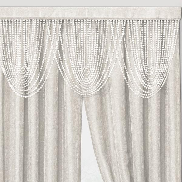 Luna Beaded Cascade Valance - 042x020 Ivory C41199- Marburn Curtains