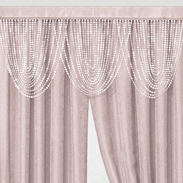 Luna Beaded Cascade Valance - 042x020 Rose C41200- Marburn Curtains