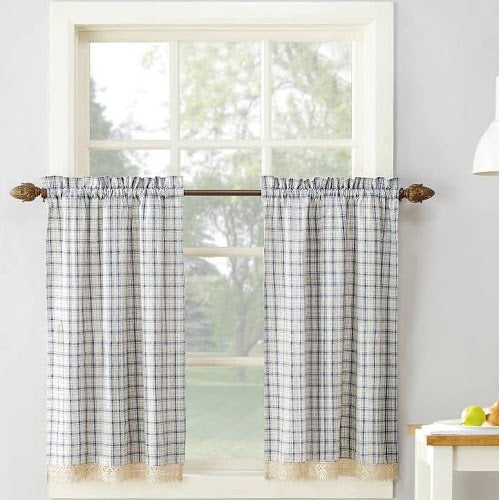 Maisie Rod Pocket Lace Trimmed Plaid Tier - 045x024 Grey C42486- Marburn Curtains