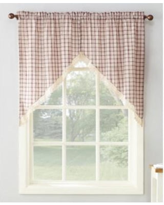 Maisie Rod Pocket Lace Trimmed Plaid Swag - 054x038 Ruby C42504- Marburn Curtains