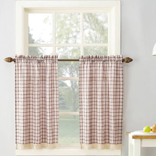Maisie Rod Pocket Lace Trimmed Plaid Tier - 045x024 Ruby C42489- Marburn Curtains