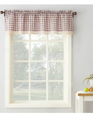 Maisie Rod Pocket Lace Trimmed Plaid Valance - 054x014 Ruby C42499- Marburn Curtains