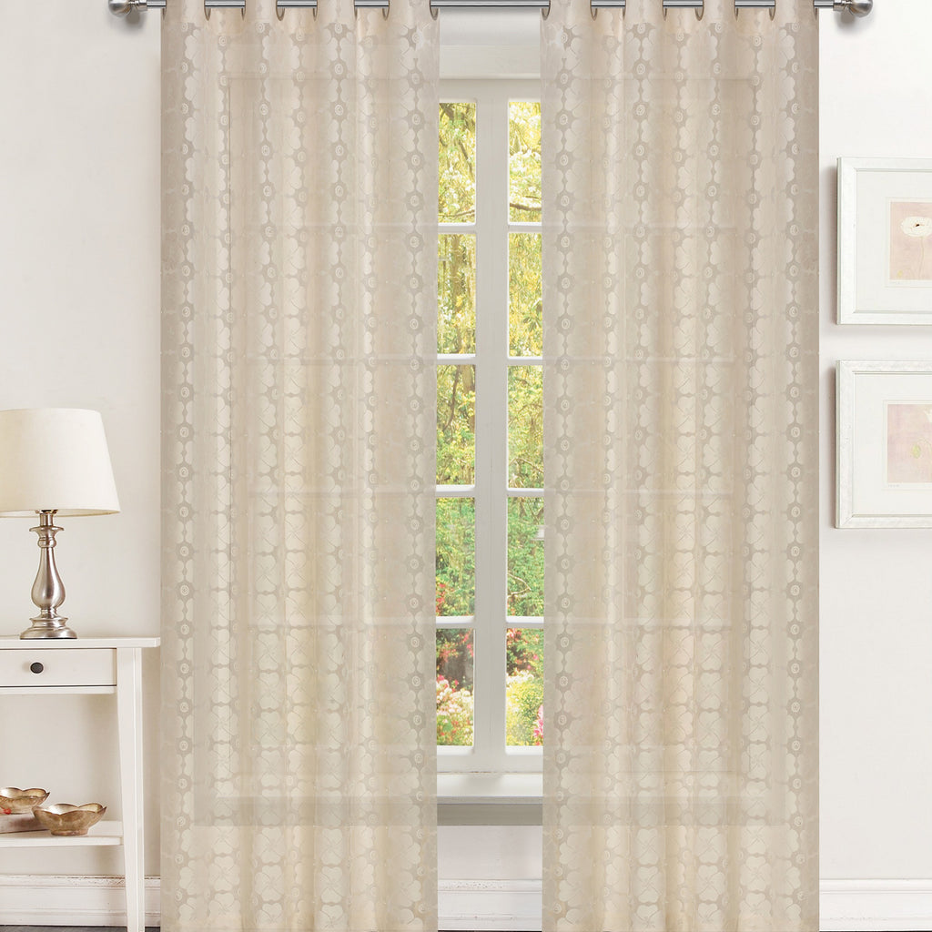 Mother of Pearl Sheer Lace Grommet Panel