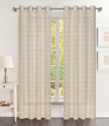 Mother of Pearl Sheer Lace Grommet Panel - - Marburn Curtains
