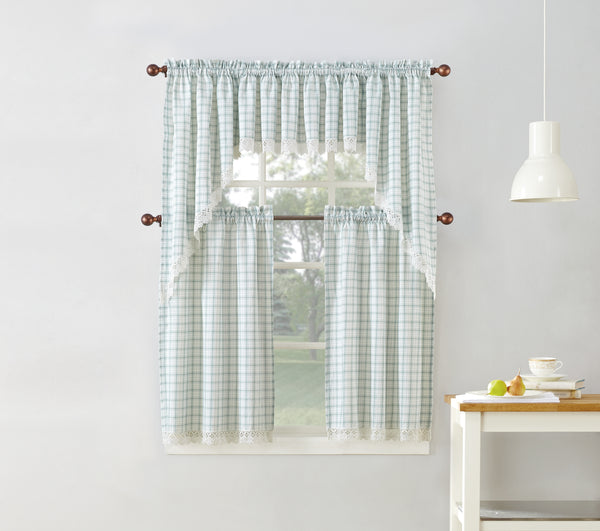 Maisie Rod Pocket Lace Trimmed Plaid Tier - - Marburn Curtains