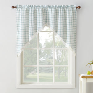 Maisie Rod Pocket Lace Trimmed Plaid Swag - 054x038 Aloe C42500- Marburn Curtains