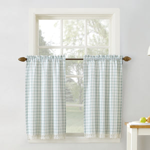 Maisie Rod Pocket Lace Trimmed Plaid Tier - 045x024 Aloe C42485- Marburn Curtains