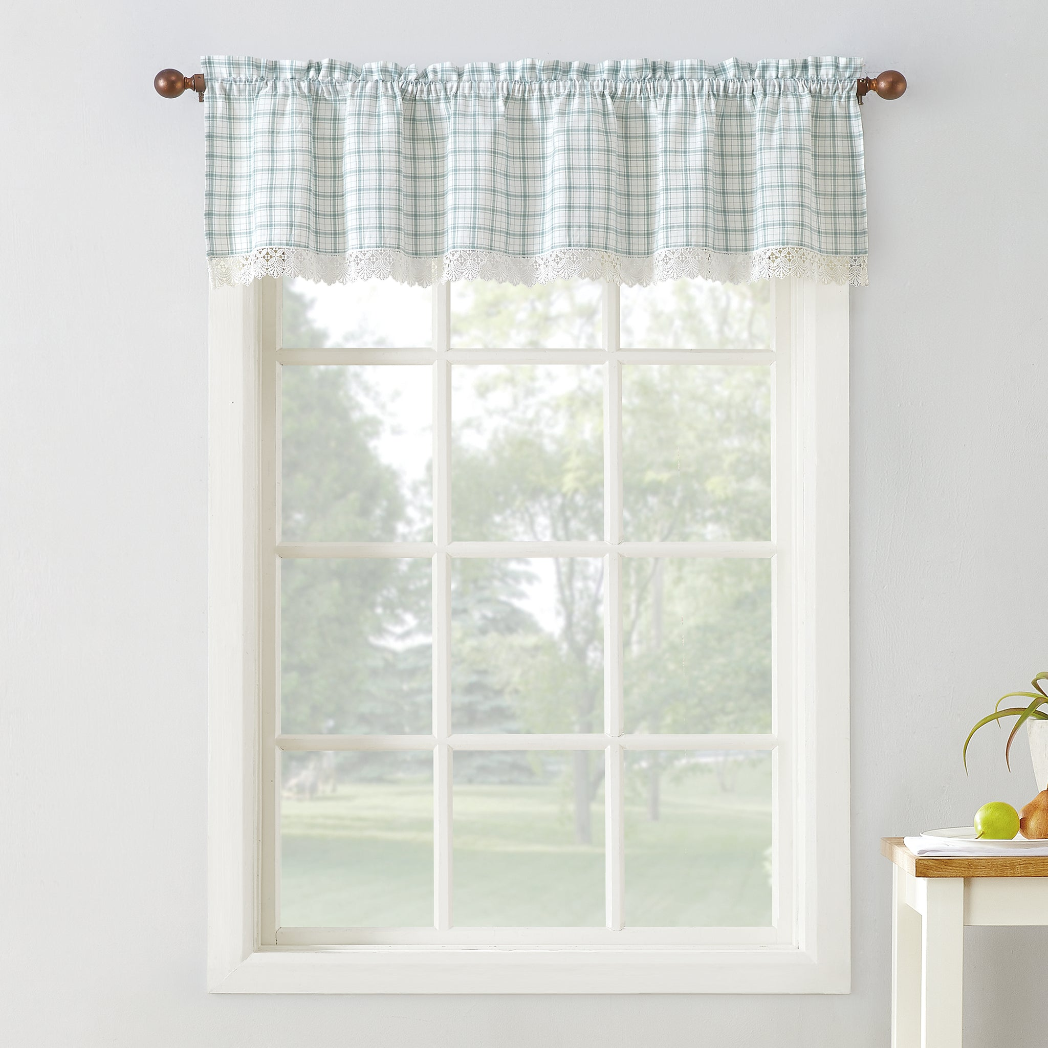 Maisie Rod Pocket Lace Trimmed Plaid Valance - 054x014 Aloe C42495- Marburn Curtains
