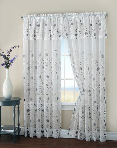 "Malta Embroidered Rod Pocket Panel w/Attached Valance 84"" - - Marburn Curtains"