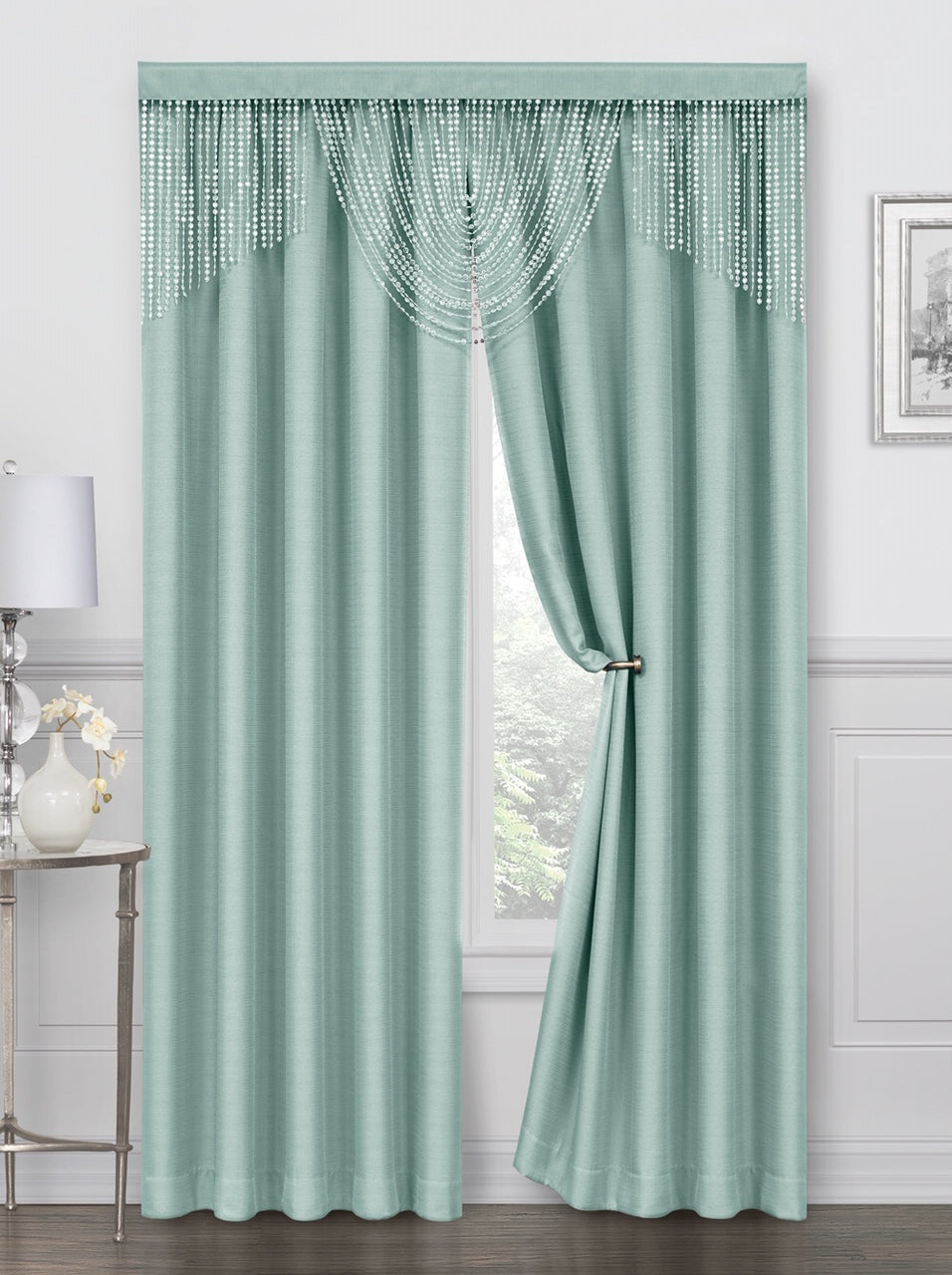 Meadow Rod Pocket Curtain Panel - 052x084   Aqua  C44701- Marburn Curtains